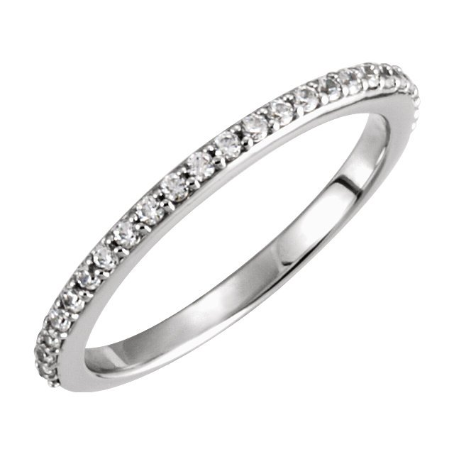 Item # 127636BW - 14K white gold  matching wedding band. The band holds 25 round brilliant cut diamonds with total weight of 0.30ct. The diamonds are graded as VS in clarity G-H in color.