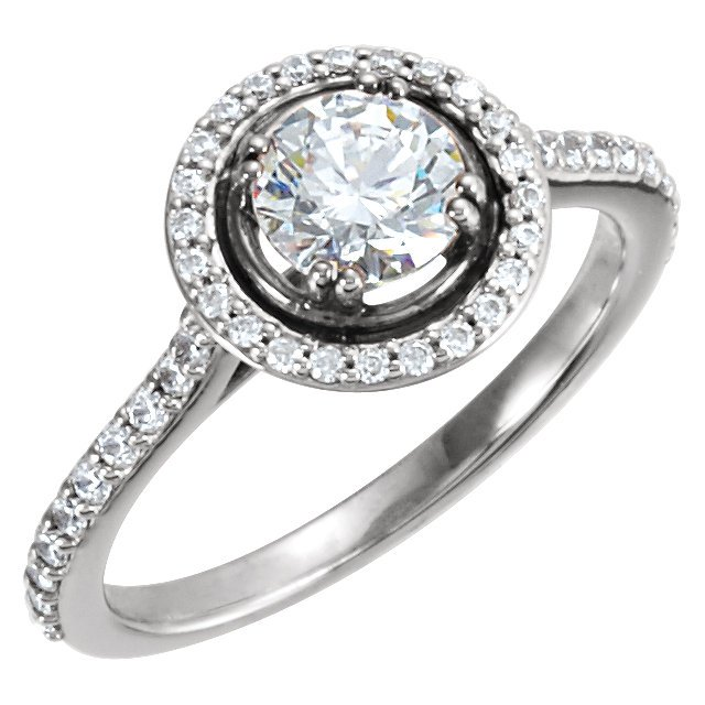 Item # 127636WE - 18K white gold engagement ring. The ring and holds 44 round brilliant cut diamonds with total weight 0.50ct. The diamonds are graded as VS in Clarity G-H in color. The ring in the center holds 0.50ct round brilliant ideal cut diamond. The center diamond is GIA certified and certification number is laser inscribed on the diamond. The center diamond is graded as VS2 in Clarity H in color.  Matching wedding band 127636BWE.