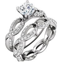 Item # 127641ABW - Infinity Inspired Engagement Ring Matching Band