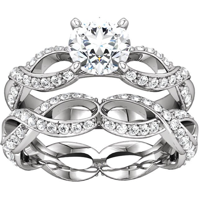Item # 127641ABWE View 3 - Infinity Inspired Engagement Ring Matching Band