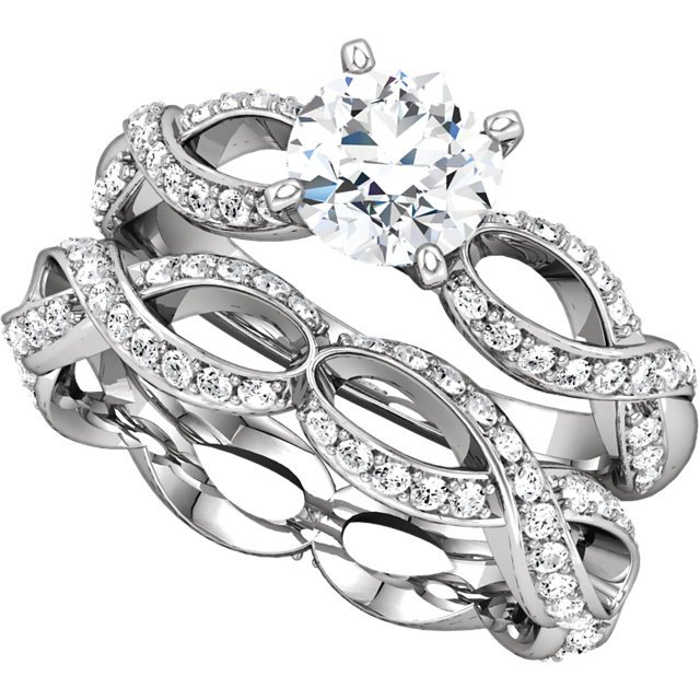Item # 127641ABWE View 4 - Infinity Inspired Engagement Ring Matching Band