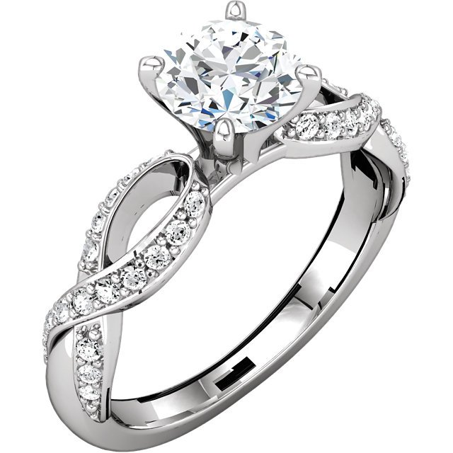 Item # 127641AW - 14k white gold infinity inspired engagement ring. The ring holds channel set 0.25ct diamonds graded as VS in clarity G-H in color. The ring also in the center holds one 0.75ct round brilliant cut ideal cut GIA certified diamond graded as SI1 in clarity H in color.