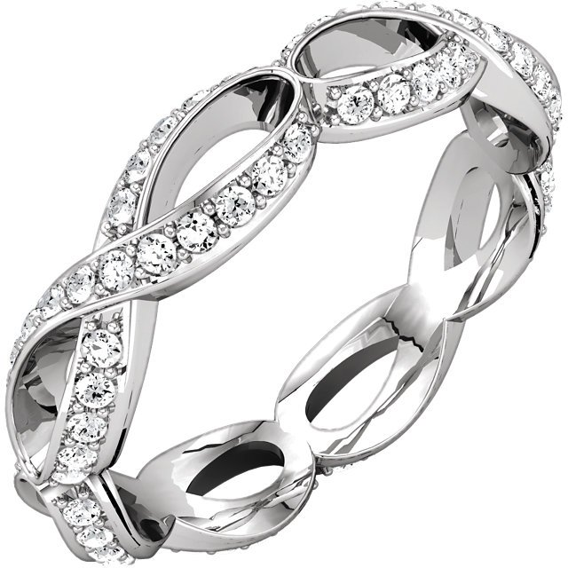 Item # 127641BWE - 18K white gold infinity inspired eternity ring. The ring holds channel set 0.68ct diamonds graded as VS in clarity G-H in color.  The eternity band is matching 127641AWE.