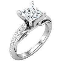 Item # 127647PP - Platinum Princess Diamond Engagement Ring