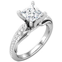 Item # 127647W - Princess Diamond Engagement Ring