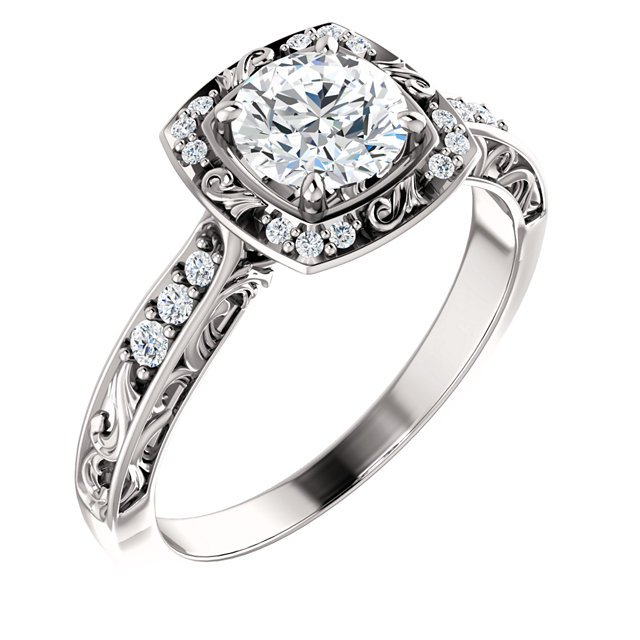 Item # 127659WE - 18K white gold diamond engagement ring. The ring holds 18 round brilliant cut diamonds with total weight of 1/6ct. In the center the ring holds one round brilliant ideal cut diamond that weighs 3/4 ct and certified by GIA as SI1 in Clarity G in color. The ring can be made to different size diamonds.