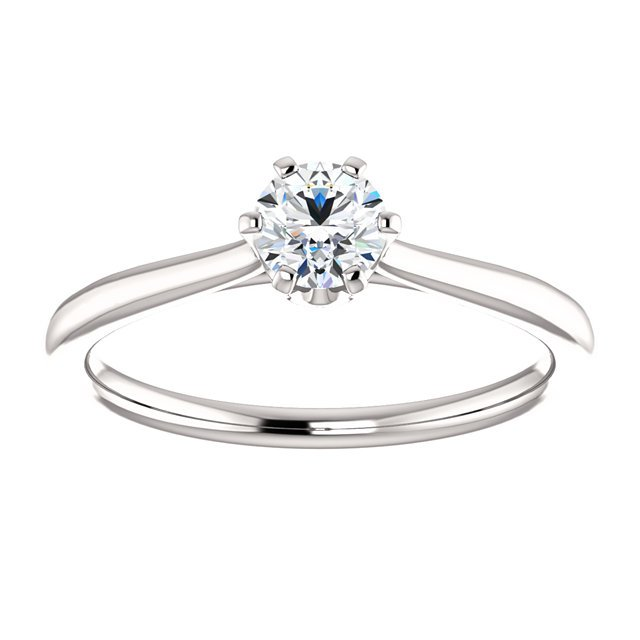 Item # 127682W - 14K White Gold Solitaire Engagement Ring View-3
