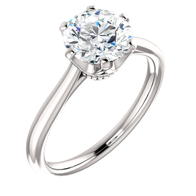 Item # 127682W - One 14K white gold solitaire diamond engagement ring. The ring holds 1.0ct round brilliant ideal cut diamond. The diamond is cerified by GIA as SI1 in Clarity H in Color.