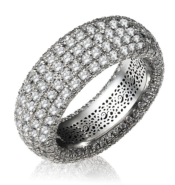 Item # 13746PP - Platinum, diamond eternity ring. The ring pave set holds 336 diamonds in size 7 with diamond total weight of approximately 4.32ct. The diamonds are nine rows and each row contains 42 round brilliant diamonds. The diamonds are graded as VS in clarity G-H in color.