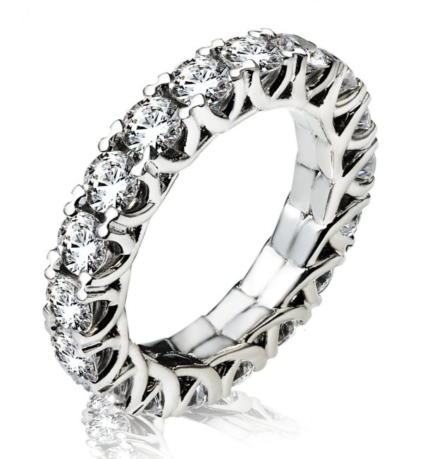 Item # 13796PD - Palladium, diamond eternity ring. The ring in size 7 holds 18 round brilliant cut diamonds with total weight of 3.6ct. The diamonds are graded as VS in clarity G-H in color.