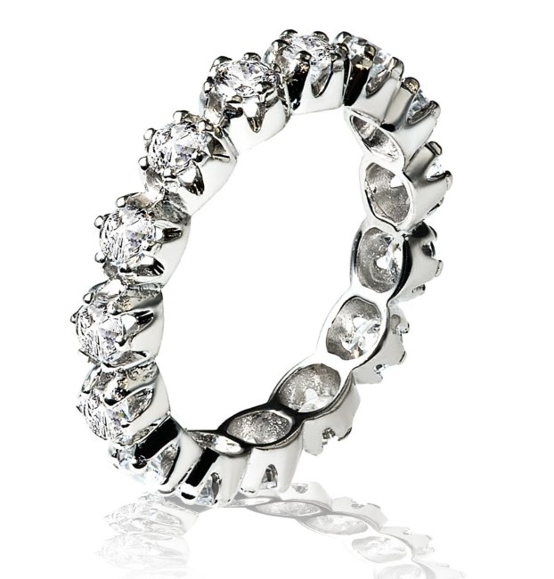 Item # 13804PP - Platinum, diamond eternity ring. The ring in size 7 holds 15 round brilliant cut diamonds with total weight of 1.5ct. The diamonds are graded as VS in clarity G-H in color.