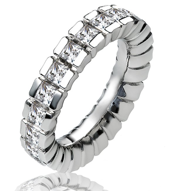Item # 13837PP - Platinum diamond eternity ring. The ring in size 7.0  holds 22 matching princess cut brilliant diamonds. The diamonds together weigh 2.64ct and the diamonds are graded as VS in clarity G-H in color.
