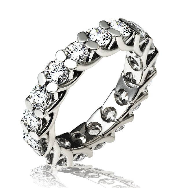Item # 13842PD - Palladium, diamond eternity ring. The ring holds 17 round brilliant in size 7.0. The diamonds have excellent cut, each weighs 0.20ct and together they weigh 3.4ct. The diamonds are graded VS in clarity and G-H in color.