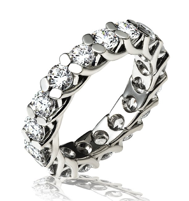 Item # 13842PP - Platinum, diamond eternity ring. The ring holds 17 round brilliant in size 7.0. The diamonds have excellent cut, each weighs 0.20ct and together they weigh 3.4ct. The diamonds are graded VS in clarity and G-H in color.