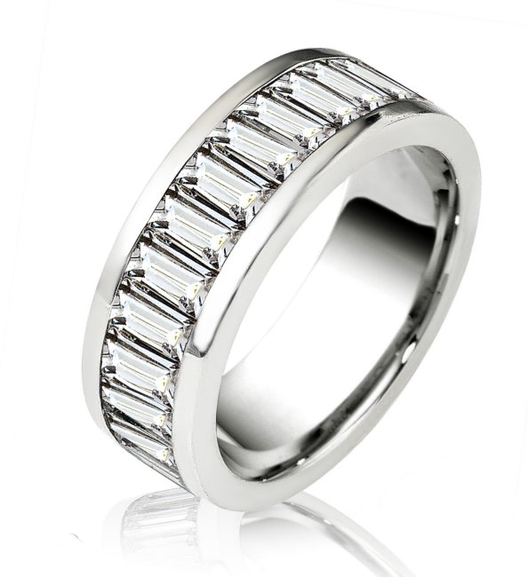 Item # 14774PP - Platinum, diamond eternity ring. The ring in size 7.0  holds 26 baguette cut diamonds. The diamonds together weigh 6.5ct and the diamonds are graded as VS in clarity G-H in color.