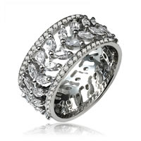 Marquise and Round Diamond Eternity Ring Platinum