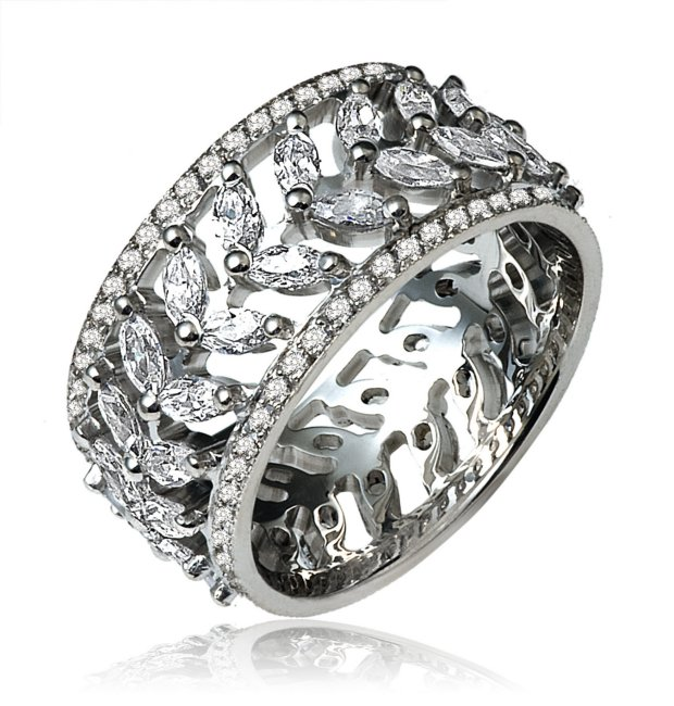 Item # 14784PP - Platinum diamond eternity ring 2.7ct TW diamond in size 7.0 The ring holds 100 round brilliant cut diamonds totaling 0.70ct and 40 marquise shape diamonds totaling 2.0ct in size 7. The diamonds are graded as VS in clarity G-H in color.