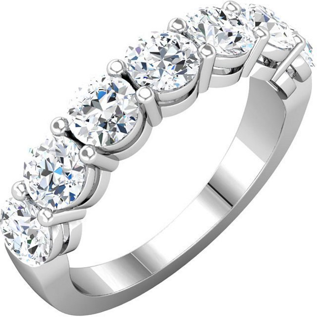 Item # 17862PP - Platinum, 7 diamonds anniversary ring. Diamonds together weigh approximately 1.75ct. The diamonds are graded as G-H in color and VS in clarity.