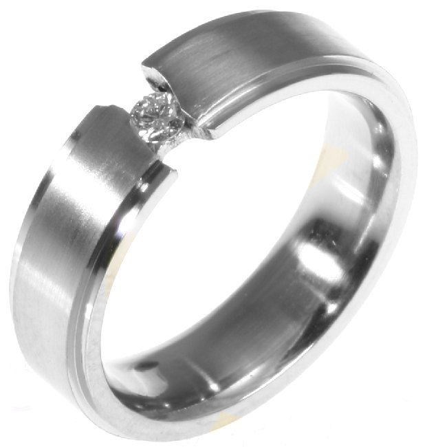Item # 196289WE - 18K white gold, comfort fit, classic, 6.0mm wide wedding band. the ring holds 0.10ct round brilliant cut diamond with VS in clarity G-H in color.