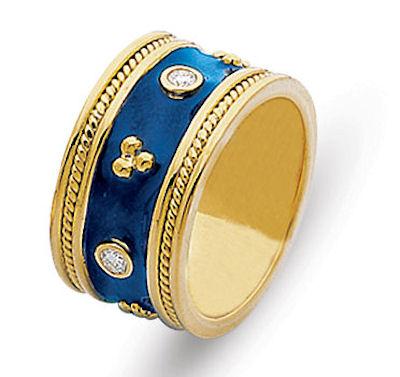 2001011e 18k yellow gold blue enamel ring