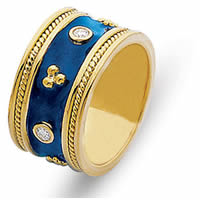 Item # 2001011E - 18K Yellow Gold Diamond & Blue Enamel Ring