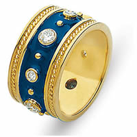 Item # 2001057E - 18K Yellow Gold Diamond Enamel Ring