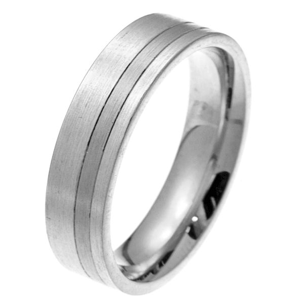 Item # 2100511W - 14 kt white gold 6.0 mm wide comfort fit wedding band. The ring is a classic style with a stripe in the center. It is all matte finished, 6.0 mm wide and comfort fit. Different finishes may be selected or specified.