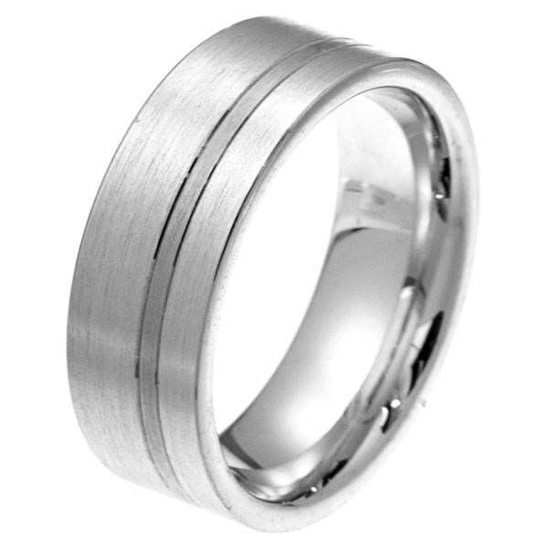 Item # 2100571PP - Platinum 8.0 mm wide comfort fit wedding band. The ring is a classic style with stripe in the band. It is all matte finish, 8.0 mm wide and comfort fit. Different finishes may be selected or specified.
