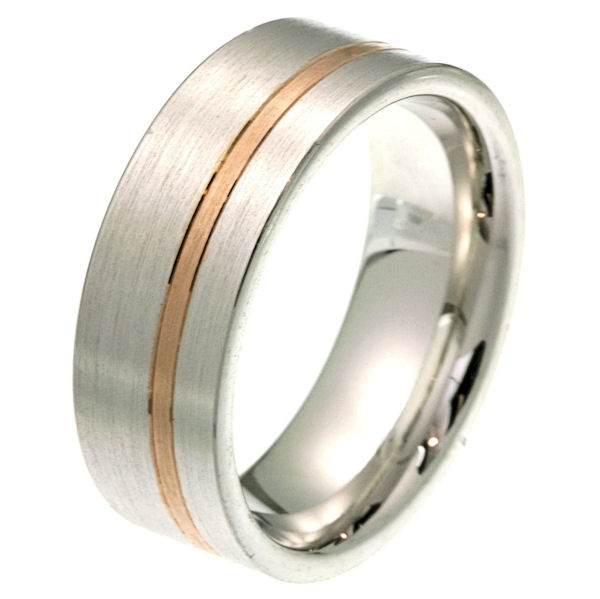Item # 2100571RE - 18 kt rose and white gold 8.0 mm wide comfort fit wedding band. The ring is a classic style with a rose gold stripe in the band. It is all matte finish, 8.0 mm wide and comfort fit. Different finishes may be selected or specified.
