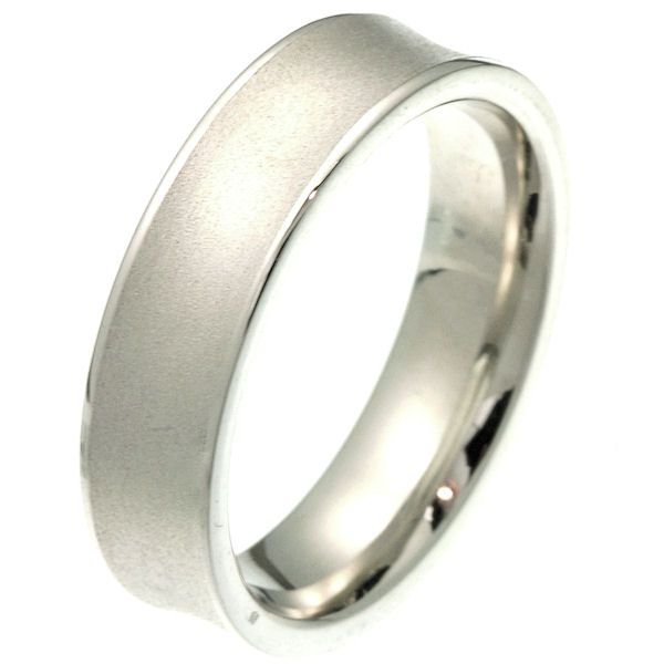 Item # 2101611W - 14 kt white gold 6.0 mm wide comfort fit wedding band. The center of the ring dips in with a sandblast finish and the edges are polished. It is 6.0 mm wide and comfort fit. Different finishes may be selected or specified.