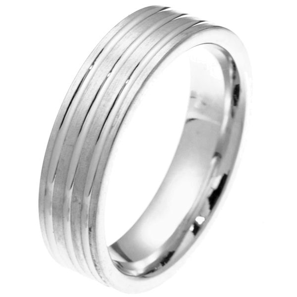 Item # 2101721WE - 18 kt white gold 6.0 mm wide comfort fit wedding band. The ring has 3 white gold grooves and the rest is matte finish. It is 6.0 mm wide and comfort fit. Different finishes may be selected or specified.