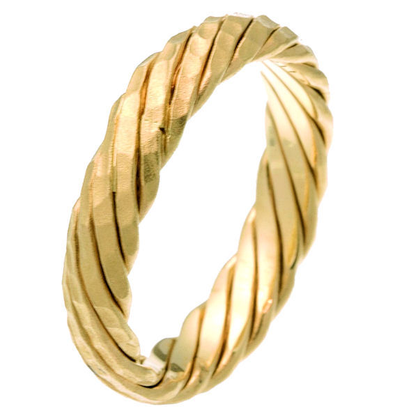 Item # 210311E - 18 kt yellow gold 5.0 mm wide comfort fit wedding band. The ring is a contemporary style twist and matte finish throughout the whole band. It is 5.0 mm wide and comfort fit. Different finishes may be selected or specified.