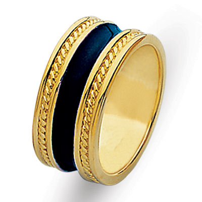 Item # 210369E - 18 kt yellow gold and blue enamel ring. The band is 11.0 mm wide and comfort fit. There are two handmade twisted ropes in the band made with 18 kt yellow gold. The center of the ring has blue enamel. The whole ring is polished. Different finishes may be selected or specified.