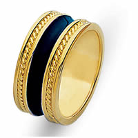 Item # 210369E - 18 Kt Yellow Gold & Blue Enamel Ring