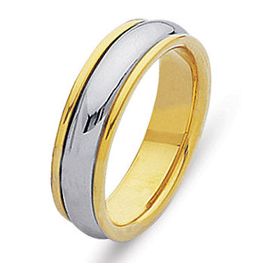 Item # 210435E - Hand made 18 kt two-tone gold, 5.0 mm wide, comfort fit wedding ring. The ring is a polished finish. Different finishes may be selected or specified.