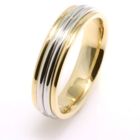 Item # 210445PE - Hand crafted, platinum and 18 kt yellow gold, 5.0 mm wide, comfort fit Wedding Band. The ring is a polished finish. Different finishes may be selected or specified.