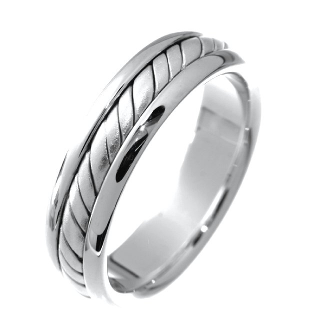 Item # 210465WE - 18K white gold, hand crafted, 5.0 mm wide, comfort fit wedding band.  There is a handcrafted rope design in the center. The whole ring is a polished finish. Different finishes may be selected or specified.