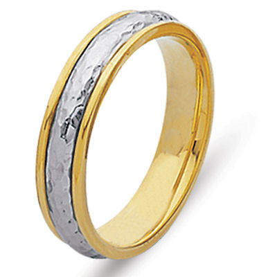 Item # 210475 - 14K two-tone hand crafted 5.0 mm wide, comfort fit wedding band. The ring has a polished hammered finish in the center and a polish finish on the edges. Different finishes may be selected or specified.