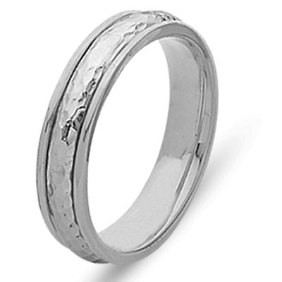 Item # 210475WE - 18K White gold hand crafted 5.0 mm wide, comfort fit wedding band. The ring has a polished hammered finish in the center and a polish finish on the edges. Different finishes may be selected or specified.