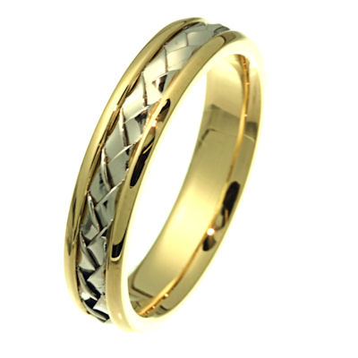 Item # 210515E - Hand woven 18 kt two-tone gold, 5.0 mm wide comfort fit band. There is a handcrafted braid in the center. The ring has a polished finish. Different finishes may be selected or specified.