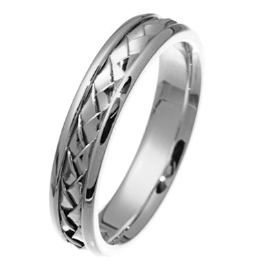 Item # 210515WE - Hand woven, 18 kt white gold, 5.0 mm wide comfort fit band. There is a handcrafted braid in the center. The ring has a polished finish. Different finishes may be selected or specified.