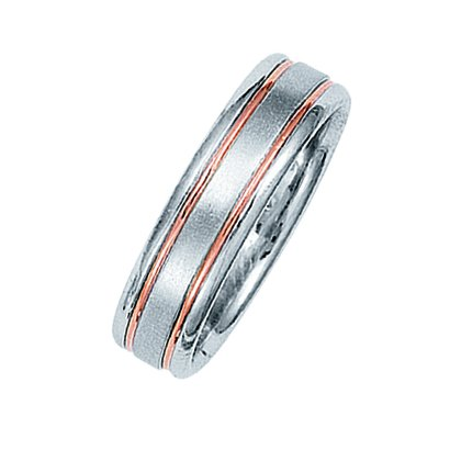 Rose-White Gold Gold Comfort Fit  Wedding Band