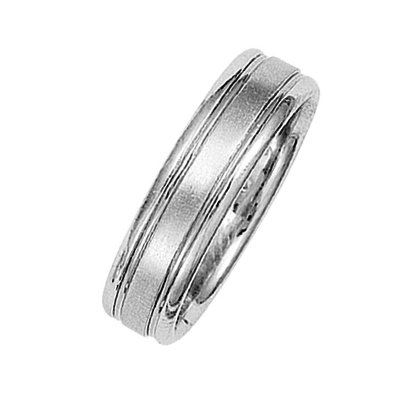 Item # 211001WE - 14Kt White gold classic wedding band. This ring is 6.0 mm wide and comfort fit. The ring has a matte finish. Different finishes may be selected or specified.