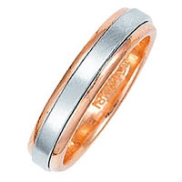 Item # 211011PE - Platinum-18K Rose Gold Classic Wedding Band