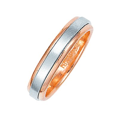 Item # 211011R - 14Kt Rose gold and white gold classic wedding band. The ring is about 5.0 mm wide and comfort fit. The center of the ring has a soft satin matte finish and the outer edges are polished. Different finishes may be selected or specified.
