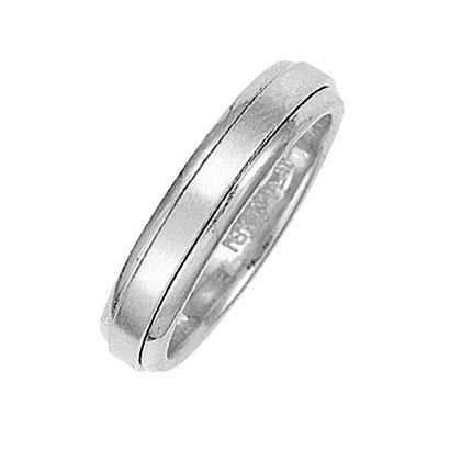 Item # 211011W - 14Kt White gold classic wedding band. The ring is about 5.0 mm wide and comfort fit. The center of the ring has a soft satin matte finish and the outer edges are polished. Different finishes may be selected or specified.