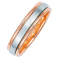 Item # 211021PE - Platinum-18K Rose Gold Classic Wedding Band