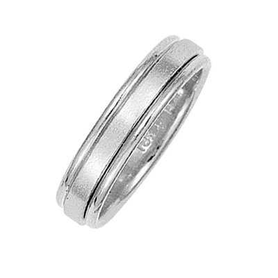 Item # 211021PP - Platinum classic wedding band. The ring is about 5.0 mm wide and comfort fit. The center of the ring has a soft satin matte finish and the outer edges are polished. Different finishes may be selected or specified.