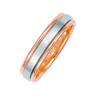 Item # 211021RE - 18Kt Rose gold and white gold classic wedding band. The ring is about 5.0 mm wide and comfort fit. The center of the ring has a soft satin matte finish and the outer edges are polished. Different finishes may be selected or specified.