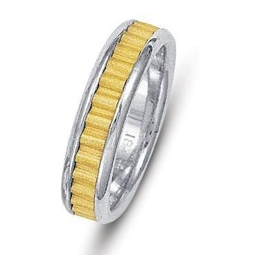Item # 211031 - 14Kt Two-tone gold classic wedding band. The ring is about 6.0 mm wide and comfort fit. The center of the ring has a unique handcrafted design with a sandblast satin finish. The outer edges are polished. Different finishes may be selected or specified.